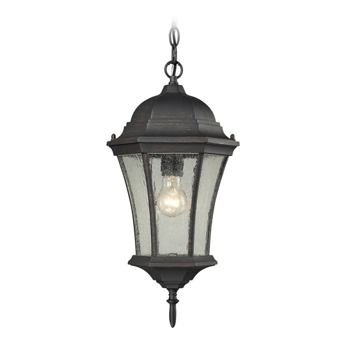 Elk Lighting Outdoor Hanging Light with Clear Glass in Weathered Charcoal Finish 45053/1