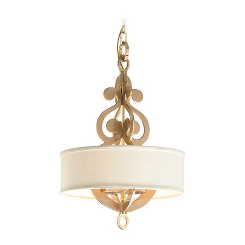 Corbett Lighting Corbett Lighting Olivia Brass Small Pendant Light with Drum Shade 201-44