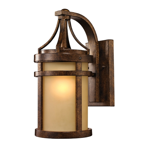Elk Lighting LED Outdoor Wall Light with Amber Glass in Hazelnut Bronze Finish 45096/1-LED