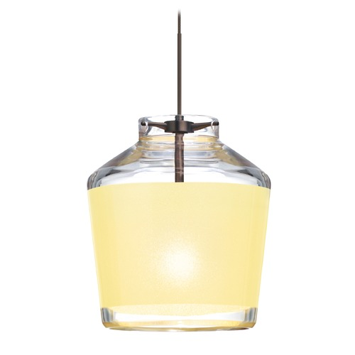 Besa Lighting Besa Lighting Pica Bronze Mini-Pendant Light with Empire Shade 1XT-PIC6CR-BR