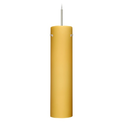 Besa Lighting Besa Lighting Stilo Satin Nickel LED Mini-Pendant Light with Cylindrical Shade 1JT-7224VM-LED-SN