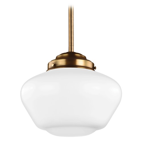 Feiss Lighting Feiss Alcott Aged Brass LED Pendant Light P1385AGB-LED