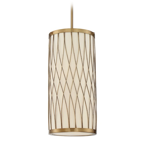 Savoy House Savoy House Lighting Spinnaker Warm Brass Mini-Pendant Light with Cylindrical Shade 3-110-2-322