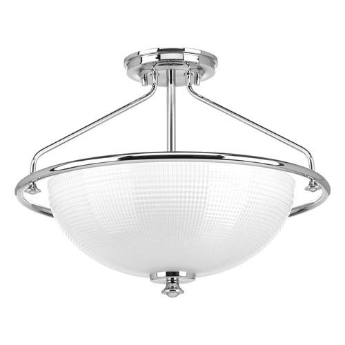 Progress Lighting Farmhouse Semi-Flushmount Light Prismatic Glass Chrome Lucky by Progress Lighting P3664-15