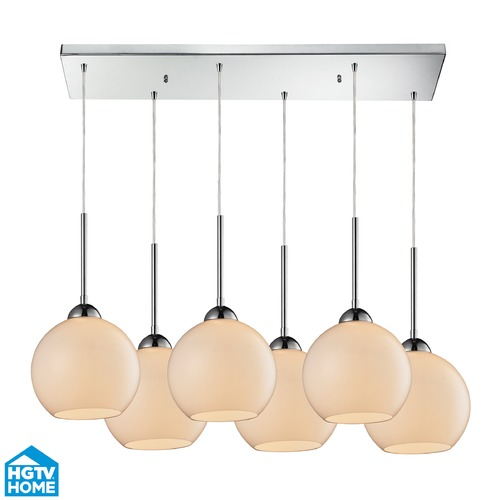 Elk Lighting Elk Lighting Cassandra Polished Chrome Multi-Light Pendant with Globe Shade 10240/6RC-WH