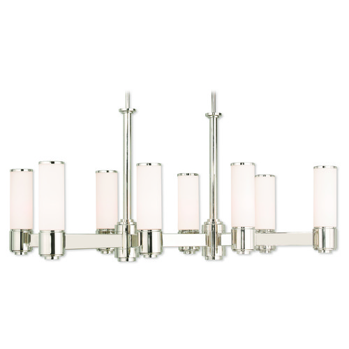 Livex Lighting Livex Lighting Weston Polished Nickel Island Light with Cylindrical Shade 52108-35