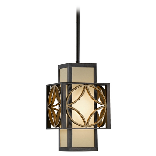 Feiss Lighting Mini-Pendant with Brown Tones Shade in Heritage Bronze/parissiene Gole P1179HTBZ/PGD