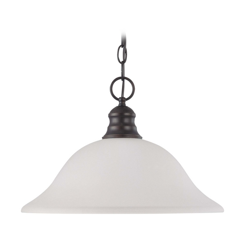 Nuvo Lighting Pendant Light with White Glass in Mahogany Bronze Finish 60/3173