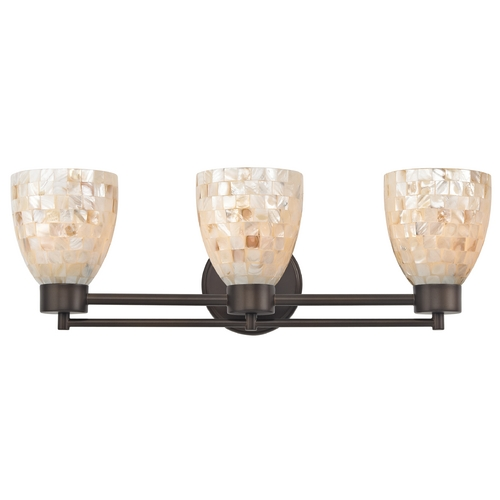 Design Classics Lighting Bathroom Light with Mosaic Glass Glass in Neuvelle Bronze Finish 703-220 GL1026MB