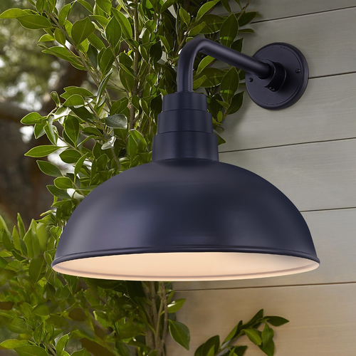 Recesso Lighting by Dolan Designs Black Gooseneck Barn Light with 16-Inch Dome Shade BL-ARMD3-BLK/BL-SH16D-BLK