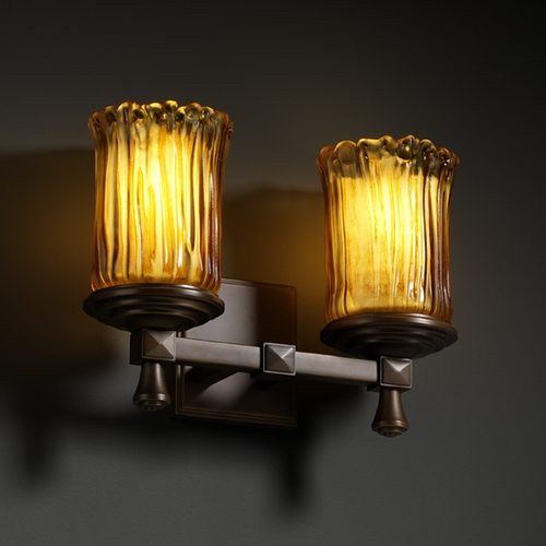 Justice Design Group Justice Design Group Veneto Luce Collection Bathroom Light GLA-8532-16-AMBR-DBRZ