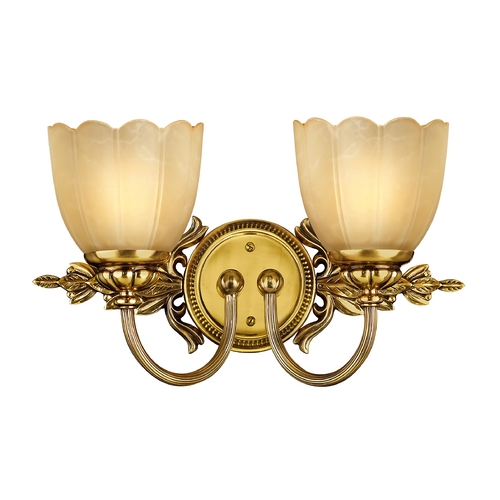 Hinkley Lighting Bathroom Light with Beige / Cream Glass in Burnished Brass Finish 5392BB