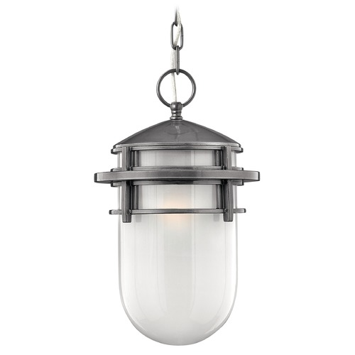 Hinkley Modern Outdoor Hanging Light with White Glass in Hematite Finish 1952HE