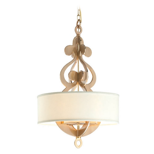 Corbett Lighting Corbett Lighting Olivia Brass Pendant Light with Drum Shade 201-46