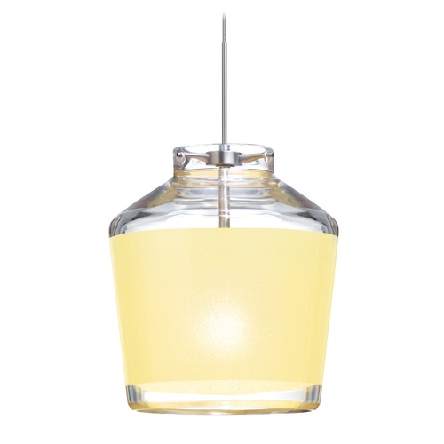 Besa Lighting Besa Lighting Pica Satin Nickel Mini-Pendant Light with Urn Shade 1XT-PIC6CR-SN