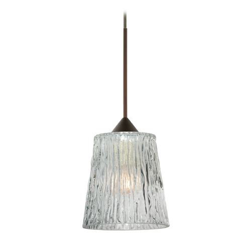Besa Lighting Besa Lighting Nico Bronze LED Mini-Pendant Light with Fluted Shade 1XT-512500-LED-BR