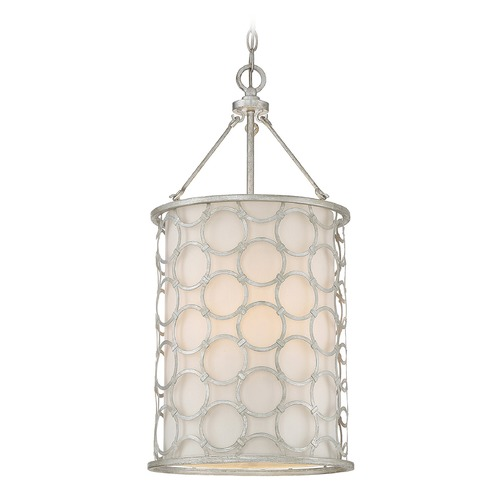 Savoy House Savoy House Lighting Triona Silver Leaf Pendant Light with Cylindrical Shade 3-1161-3-34