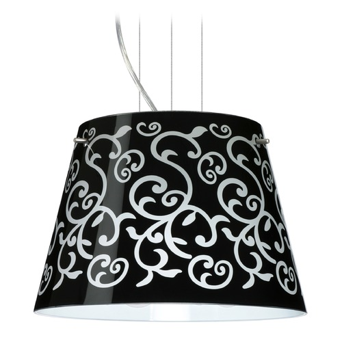 Besa Lighting Besa Lighting Amelia Satin Nickel LED Pendant Light with Empire Shade 1KG-4393BD-LED-SN