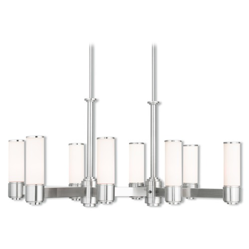 Livex Lighting Livex Lighting Weston Brushed Nickel Island Light with Cylindrical Shade 52108-91