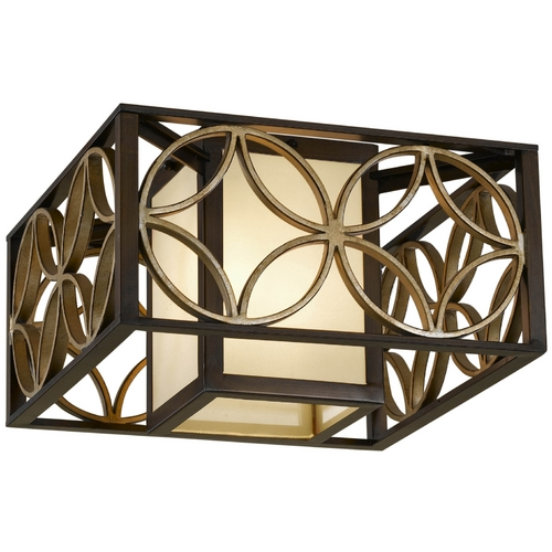 Feiss Lighting Flushmount Light with Brown Tones Shades in Heritage Bronze/parissiene Gold Finish FM330HTBZ/PGD