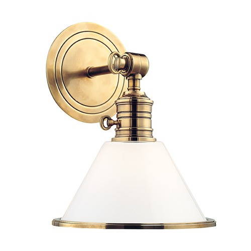 Hudson Valley Lighting Sconce Wall Light with White Glass in Aged Brass Finish 8331-AGB