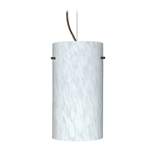 Besa Lighting Modern Pendant Light with White Glass in Bronze Finish 1KX-412019-BR