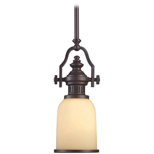 Elk Lighting Mini-Pendant Light with Amber Glass 66132-1