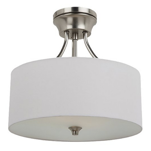Sea Gull Lighting Modern Semi-Flushmount Light with White Shade in Brushed Nickel Finish 77952-962