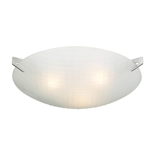 PLC Lighting Modern Flushmount Light with White Glass in Polished Chrome Finish 12146 PC