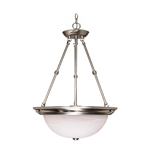 Nuvo Lighting Pendant Light with Alabaster Glass in Brushed Nickel Finish 60/3188