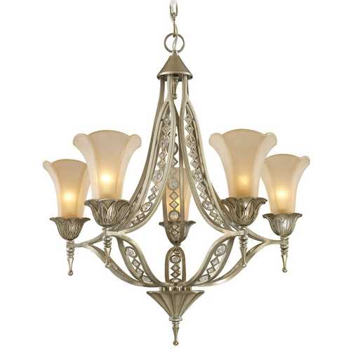 Elk Lighting Chandelier with Beige / Cream Glass in Aged Silver Finish 3826/5