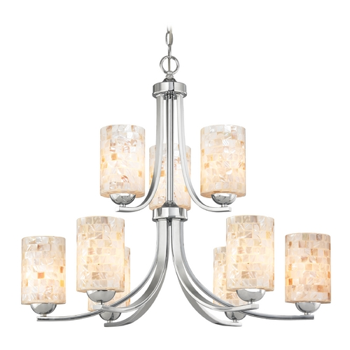 Design Classics Lighting Chandelier with Mosaic Glass in Polished Chrome Finish 586-26 GL1026C