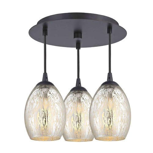 Design Classics Lighting 3-Light Semi-Flush Ceiling Light with Mercury Oblong Glass - Bronze Finish 579-220 GL1034-MER