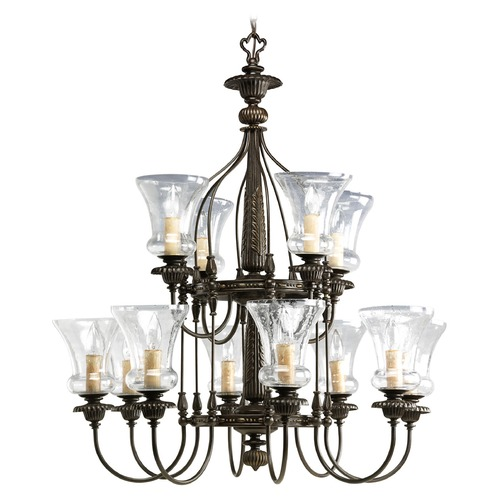 Progress Lighting Progress Chandelier with Clear Glass in Forged Bronze Finish P4411-77
