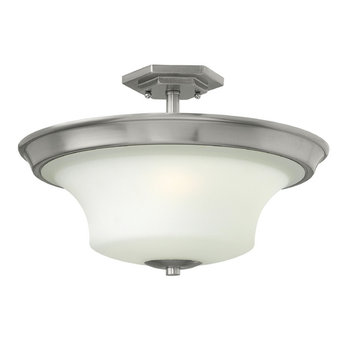 Hinkley Lighting Semi-Flushmount Light with White Glass in Brushed Nickel Finish 4632BN