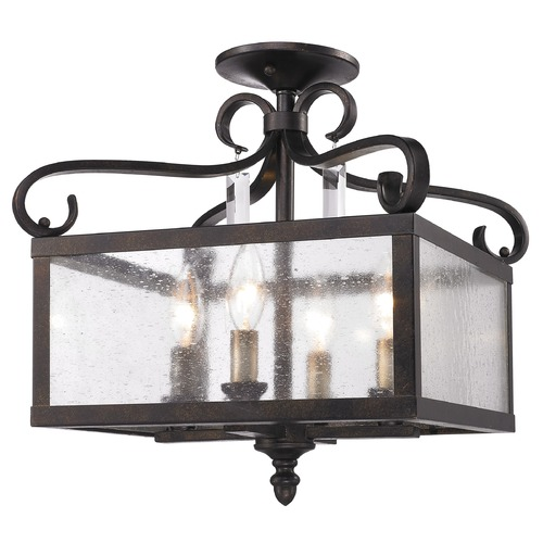 Golden Lighting Golden Lighting Valencia Fired Bronze Semi-Flushmount Light 2049-SF FB