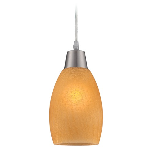 Lite Source Lighting Lite Source Inga Polished Steel Mini-Pendant Light with Bowl / Dome Shade LS-19099L/AMB