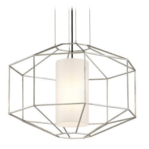 Troy Lighting Troy Lighting Silhouette Silver Leaf Pendant Light with Cylindrical Shade F5256