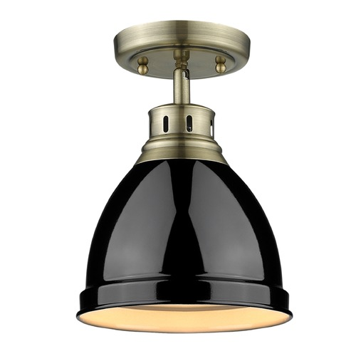 Golden Lighting Golden Lighting Duncan Ab Aged Brass Semi-Flushmount Light 3602-FM AB-BK