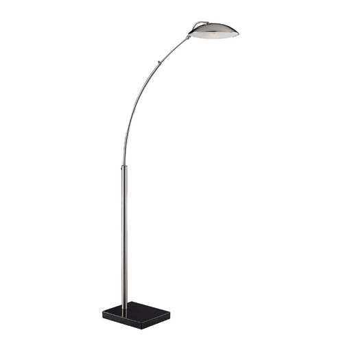 George Kovacs Lighting Modern Arc Lamp in Brushed Nickel W/brown Marble Base Finish P051-1-084