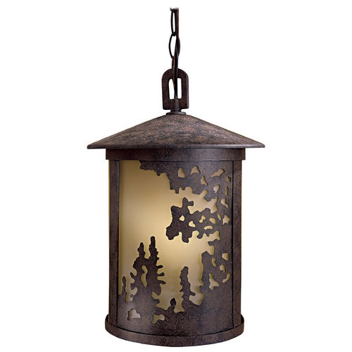 Minka Lavery Outdoor Hanging Light with Beige / Cream Glass in Textured French Bronze Finish 72034-179-PL