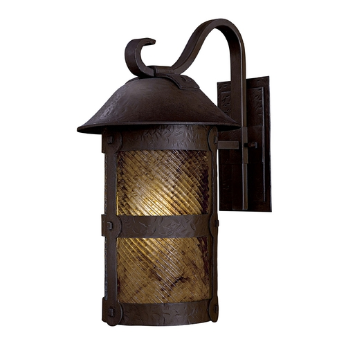 Minka Lavery Outdoor Wall Light with Amber Glass in Forged Iron Finish 9253-A199-PL