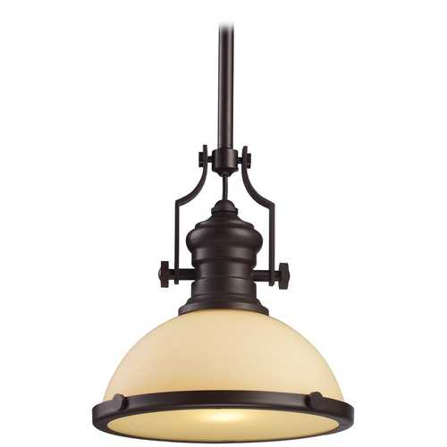 Elk Lighting Pendant Light with Amber Glass in Oiled Bronze Finish 66133-1