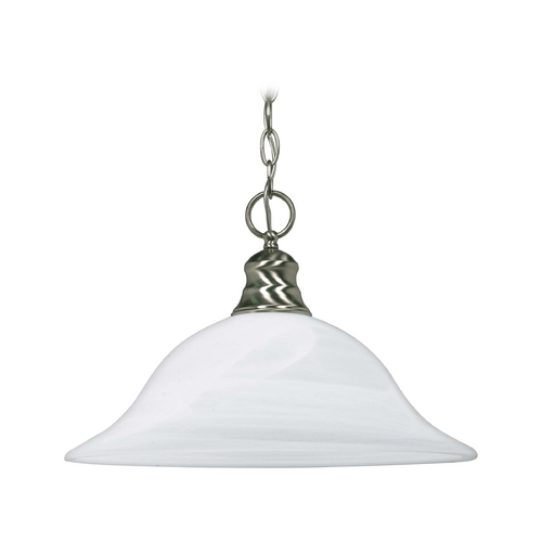 Nuvo Lighting Pendant Light with Alabaster Glass in Brushed Nickel Finish 60/3198