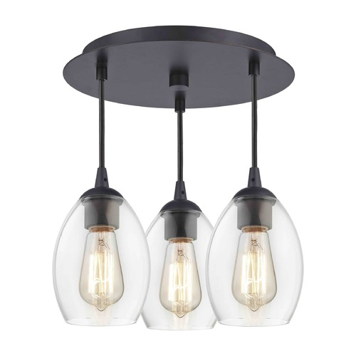 Design Classics Lighting 3-Light Semi-Flush Ceiling Light with Clear Oblong Glass - Bronze Finish 579-220 GL1034-CLR