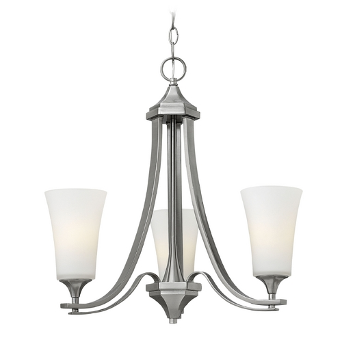 Hinkley Lighting Chandelier with White Glass in Brushed Nickel Finish 4633BN