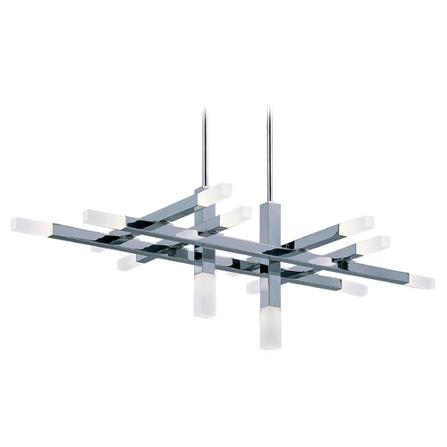 ET2 Lighting Crossroads Polished Chrome LED Pendant Light with Rectangle Shade E22515-90PC