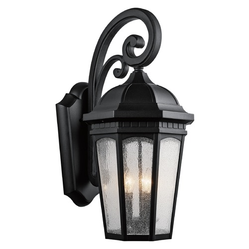 Kichler Lighting Kichler Outdoor Wall Light with White Glass in Textured Black Finish 9035BKT