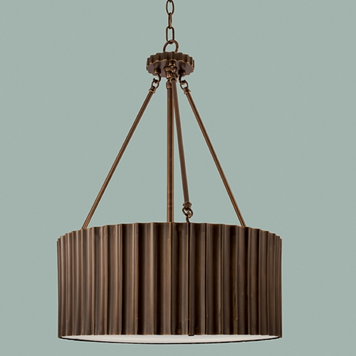 Norwell Lighting Norwell Lighting Metalique Burnished Bronze Pendant Light with Drum Shade 5640-BB-MS