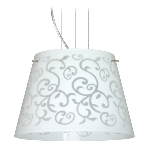 Besa Lighting Besa Lighting Amelia Satin Nickel LED Pendant Light with Empire Shade 1KG-4393WD-LED-SN